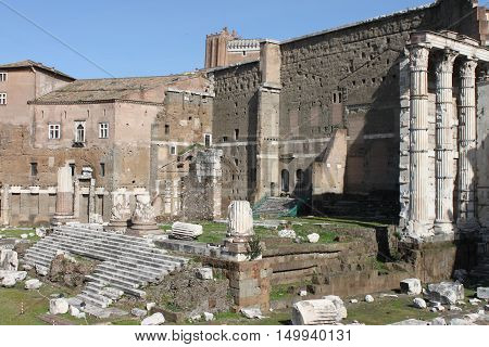 Ruins of the Forum of Augustus in Rome, Italy
