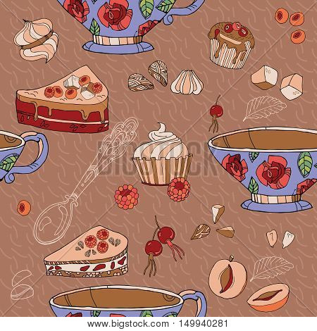 Tea seamless pattern tea party card design hand drawn vector illustration