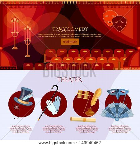 Theater infographics comedy and tragedy masks theater stage curtain vector illustration