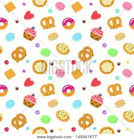 Vector confection and sweets seamless pattern with pastries candies pretzels and muffin