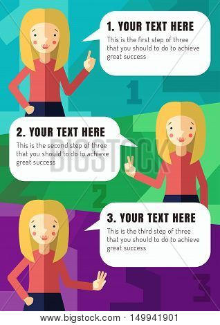 Three steps of realization your idea with blonde girl cartoon illustration (vector)