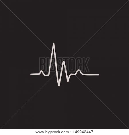 Heart beat cardiogram vector sketch icon isolated on background. Hand drawn Heart beat cardiogram icon. Heart beat cardiogram sketch icon for infographic, website or app.