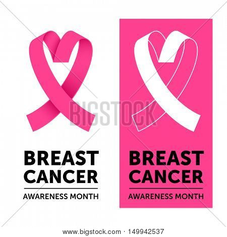 Breast Cancer Awareness Month pink ribbon symbol. Vector pink ribbon in love heart shape icon.