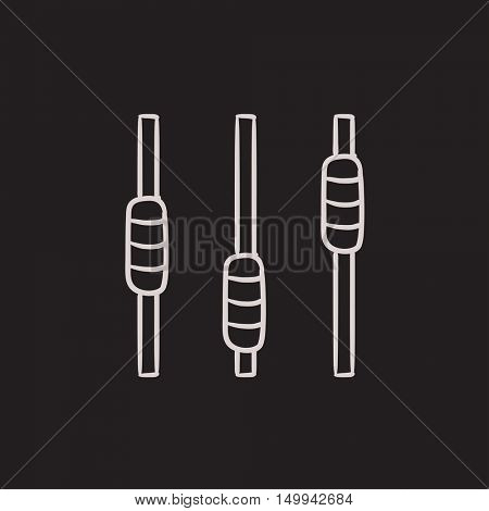 Sound mixer console vector sketch icon isolated on background. Hand drawn Sound mixer console icon. Sound mixer console sketch icon for infographic, website or app.