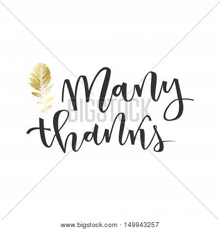 Thank you hand lettering greeting with gold leaf on white background