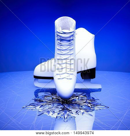 Close up view of The skates for figure skating and a snowflake on skating rink ice. 3D illustration