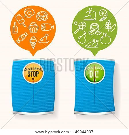 Diet Healthy Food Before and After Concept. Choice of What to Eat. Vector illustration