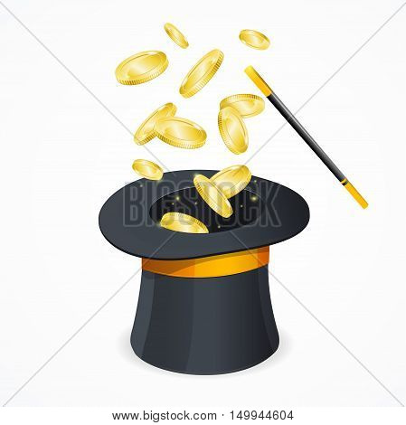 Win Concept with Magic Hat and Gold Coins. Vector illustration.