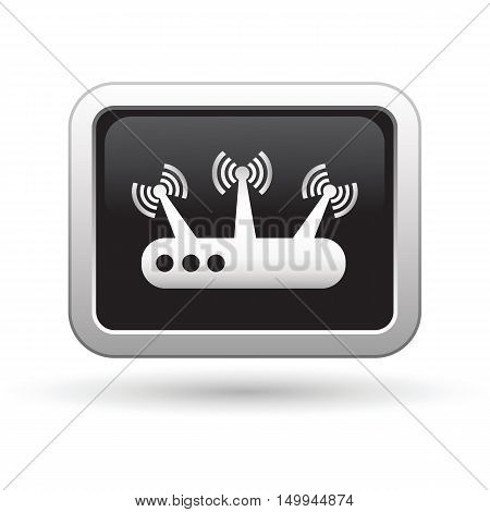 Router icon on the button. Vector illustration
