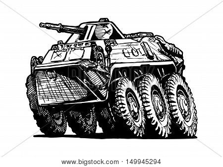 Vector illustration of armored troop-carrier in comics style