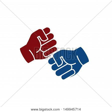 Isolated abstract brown and blue color human hands logo. Friendly punching fists logotype. Gesture language sign. Business deal symbol. Greeting and congratulating icon. Vector illustration