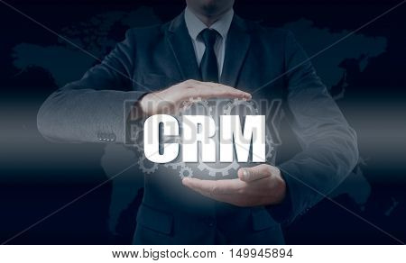 Customer relationship management concept man selecting CRM