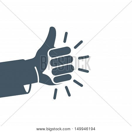 Isolated abstract grey color thumb up logo. Human hand friendly gesture logotype. Like sign. Approval button. Positive emotion. Deaf people language element. Quality estimation. Vector illustration