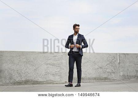 Businessman in suit and spectacles -portrait fullfigur