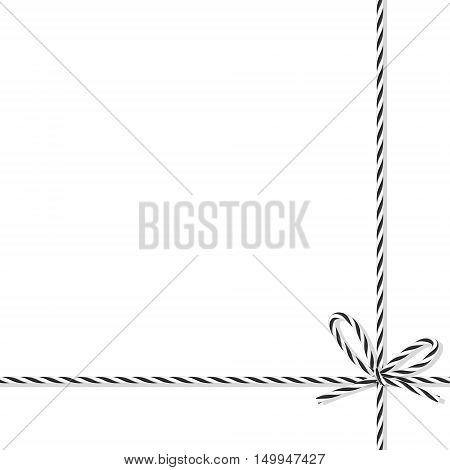 Abstract white background tied up with black rope bakers twine bow and ribbons