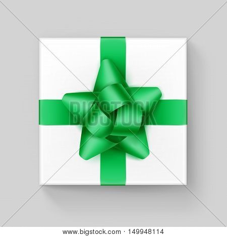Vector White Square Gift Box with Shiny Green Emerald Ribbon Bow Close up Top view Isolated on Background