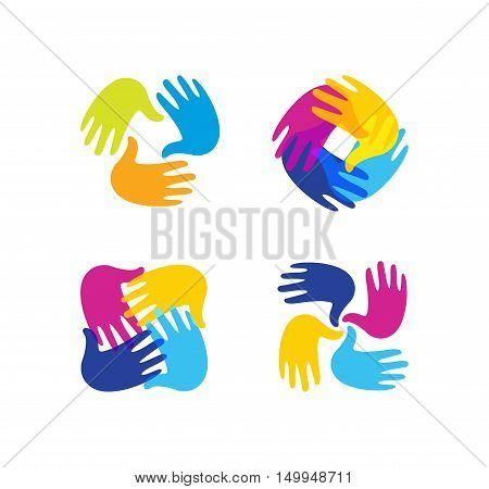 Isolated abstract colorful children hands together logo set. Kids playroom logotype collection. Kindergarten sign. Handprints in paint symbol. Art school emblem. Vector illustration