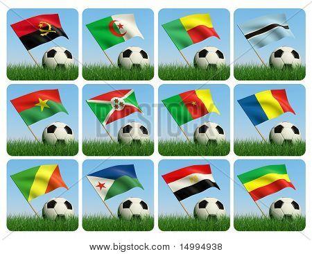 Soccer Ball In The Grass. African Flags. 3D