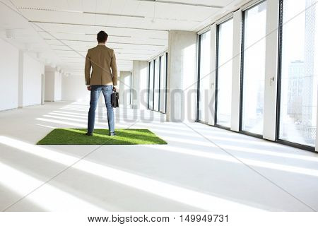 Full length rear view of young businessman standing on turf in empty office