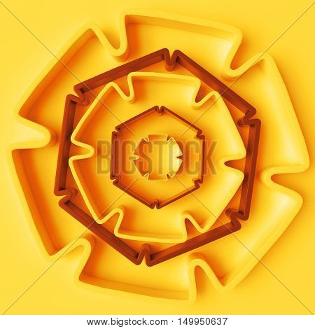 3D Rendering Absctract Background With Repeat Of Deformed Geometry Shapes. Center Oriented Compositi