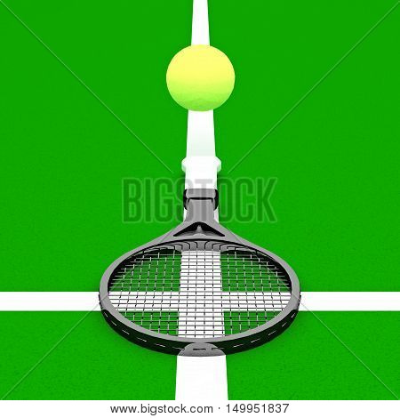Tennis - my religion! Tennis racket and ball against the background of the tennis court.3D illustration