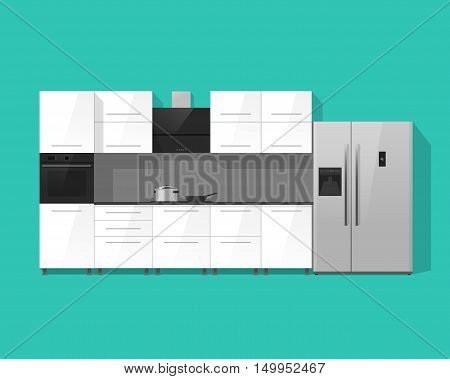 Kitchen interior vector illustration isolated on green color background, white kitchen cabinets furniture with black oven, stove and silver fridge from view plan,