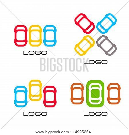 Set of colorful vector devices. Simple mobile contour. Cars silhouette. Parking area sign. Road element.Mechanic service. Vehicles emblem. Car insurance logo. Cars vector illustration