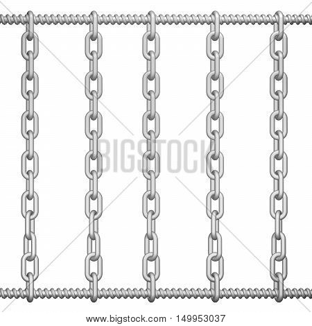 Screw-thread with chain abstarct background. 3D rendering.