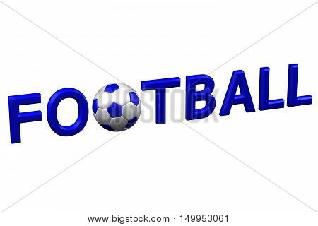 Concept: Word football isolated on white background. 3D rendering.