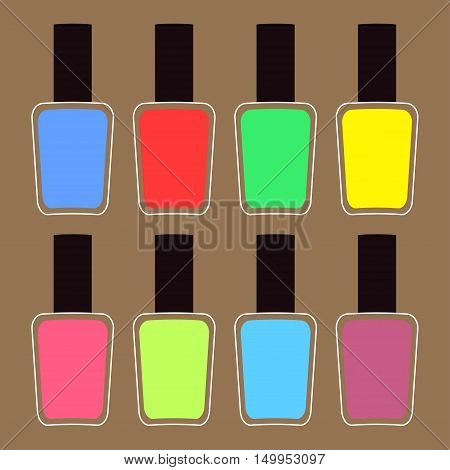 Pink blue violet green yellow nail polish varnish icon set Brown background Isolated Fashion Template Flat design. Vector illustration