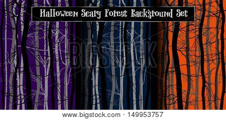 Scary Trees Branches Halloween Background Set. Haunted night forest. Purple, orange, dark blue color. Deep mystery wood vector seamless pattern.