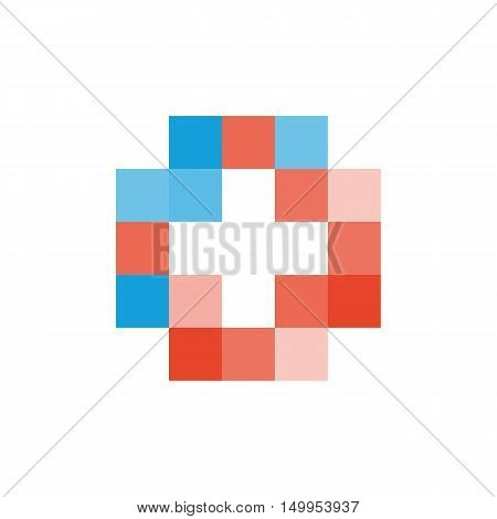 Colorful isolated mosaic cross logo. Tile element. Religious sign. Medical symbol. Hospital ambulance emblem. Doctor's office icon. Health care icon. Vector cross illustration
