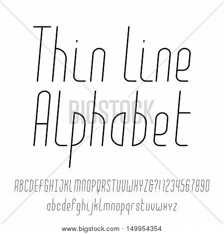 Thin line alphabet. Modern outline typeface. Uppercase and lowercase letters and numbers. Vector font for your design.
