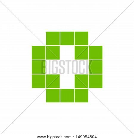 Green isolated mosaic cross logo. Tile element. Religious sign. Medical symbol. Hospital ambulance emblem. Doctor's office icon. Health care icon. Vector cross illustration