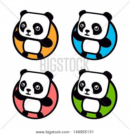 Fun, children, isolated, geek, cute, personalized panda waving paw.Round shape, cartoon, contour stylized logotype.Colorful logo template.Asian bear, kids toy, element logo. Panda vector illustration