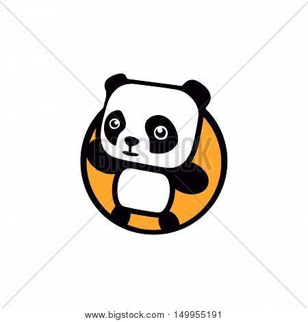 Fun, children, isolated, geek, cute, personalized panda waving paw.Round shape, cartoon, contour stylized logotype. Orange logo template.Asian bear, kids toy, element logo. Panda vector illustration