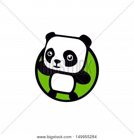 Fun, children, isolated, geek, cute, personalized panda waving paw.Round shape, cartoon, contour stylized logotype.Green logo template.Asian bear, kids toy, element logo. Panda vector illustration