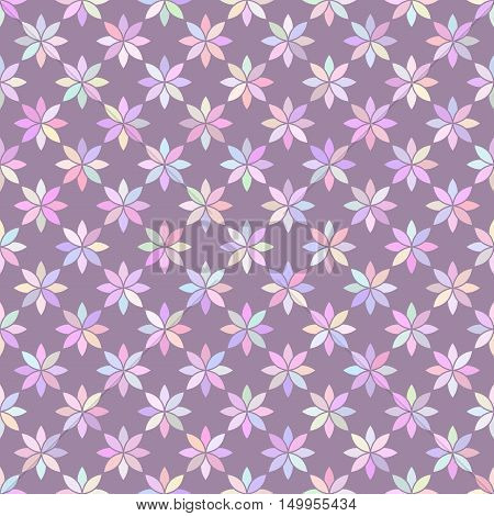 multicolored flowers 2 / Seamless vector pattern of multicolored flowers on lilac background.