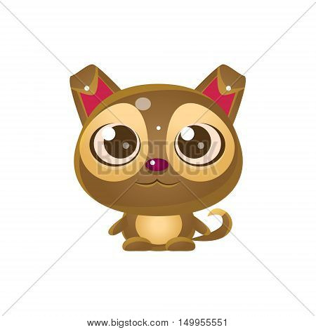 Puppy Baby Animal In Girly Sweet Style. Bright Color Vector Icon Isolated On White Background. Cute Childish Animal Character Design.