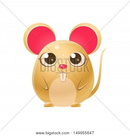 Mouse Baby Animal In Girly Sweet Style. Bright Color Vector Icon Isolated On White Background. Cute Childish Animal Character Design.