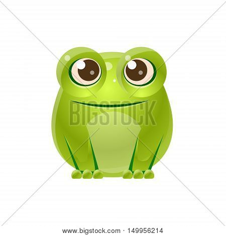 Frog Baby Animal In Girly Sweet Style. Bright Color Vector Icon Isolated On White Background. Cute Childish Animal Character Design.