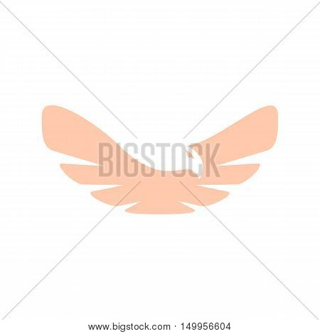 Isolated abstract pink color bird element logo. Spreading wings with feathers logotype. Flight icon. Air sign. Vector bird illustration. Airline symbol.