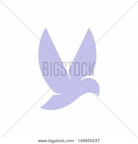 Isolated violet color flying bird side view vector logo. Animal logotype. Wings contour icon. Pigeon silhouette. Vector bird illustration. Air symbol.