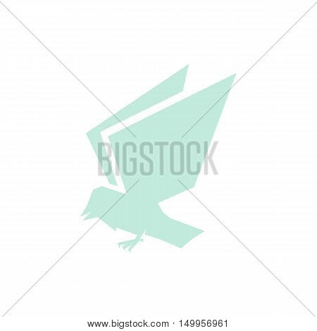 Isolated blue color flying bird side view vector logo. Animal silhouette logotype. Wings contour icon. Vector bird illustration. Air symbol.