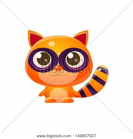 Raccoon Baby Animal In Girly Sweet Style. Bright Color Vector Icon Isolated On White Background. Cute Childish Animal Character Design.