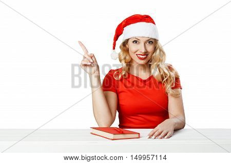 Girl Shows Welcome Gesture, Xmas Concept Isolated02