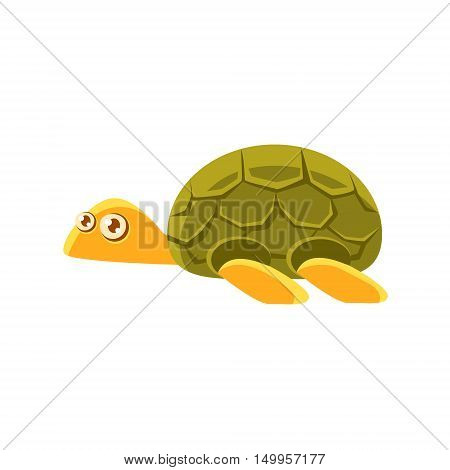 Turtle Toy Exotic Animal Drawing. Silly Childish Illustration Isolated On White Background. Funny Animal Colorful Vector Sticker.