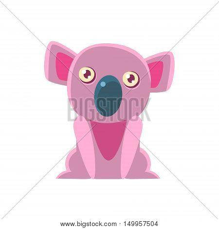 Koala Bear Toy Exotic Animal Drawing. Silly Childish Illustration Isolated On White Background. Funny Animal Colorful Vector Sticker.