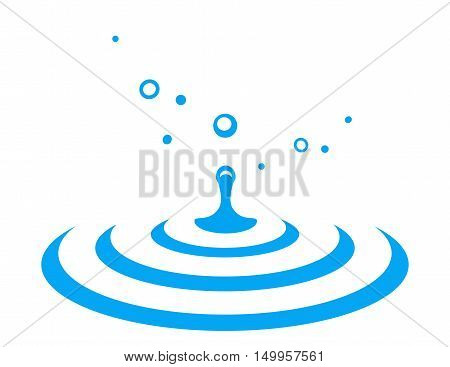 abstract water drop splash with blue dribble