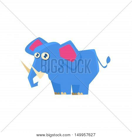 Blue Elephant Toy Exotic Animal Drawing. Silly Childish Illustration Isolated On White Background. Funny Animal Colorful Vector Sticker.